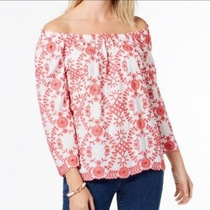 Charter Club Off-The-Shoulder Embroidered Top